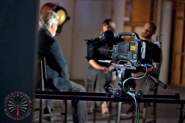 professional broadcast video camera on large slider