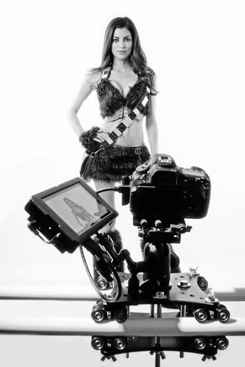 camera slider system in the studio